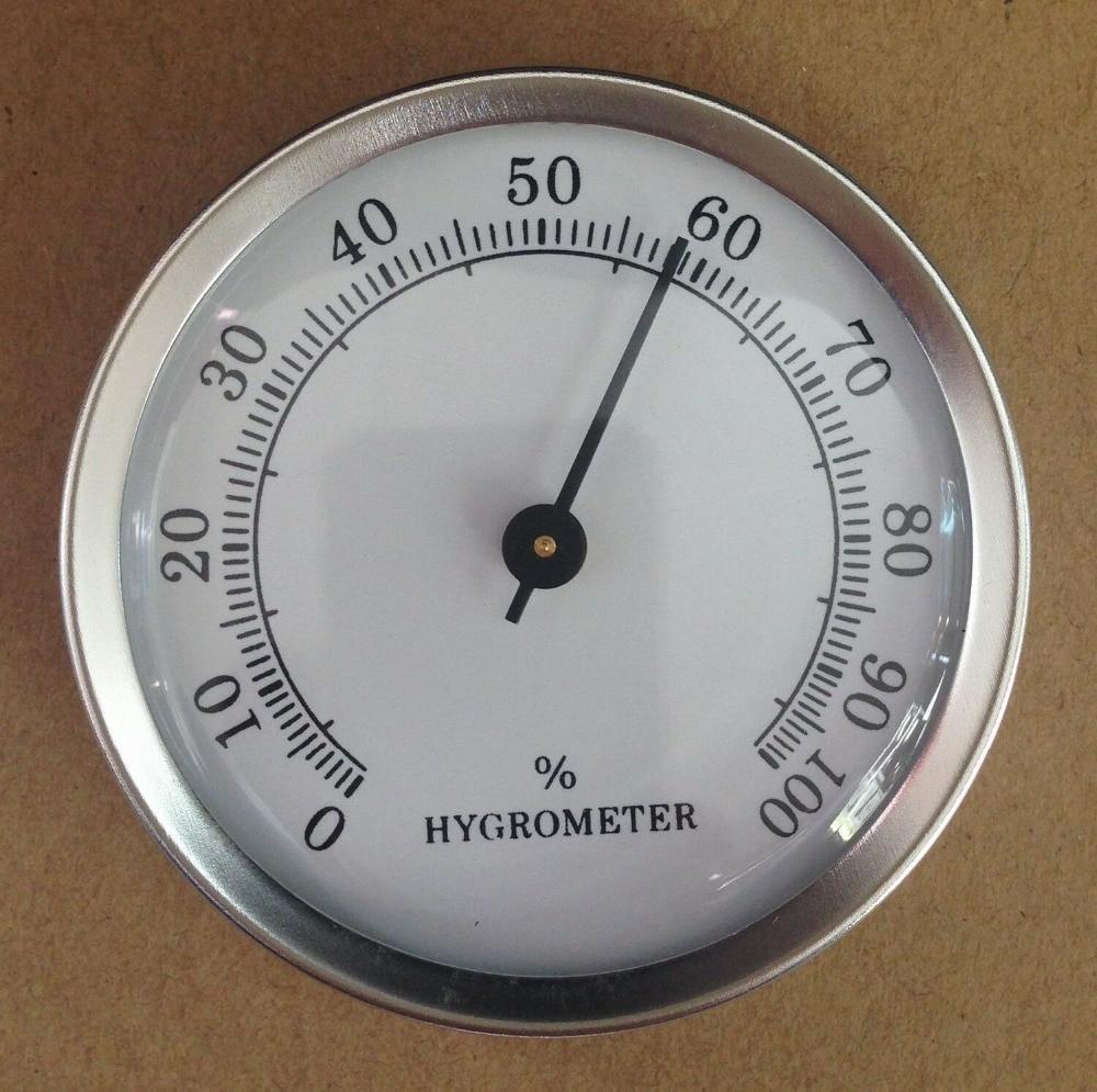 Hygromètre analogique rond en verre 57mm | 5 pièces/lot, pour humidificateur, argent pour cigare boîte de tabac métal avec dos Maganet H103