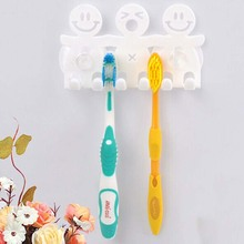 Cute Design Smile Suction Hooks 5 Position Tooth Brush Holder Bathroom Set Cartoon Sucker Toothbrush Holder for Home Decor D0237