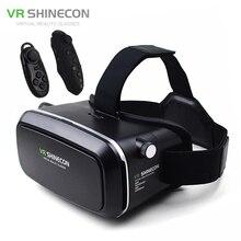 "Realidad virtual 3d gafas casco vr vr shinecon caja de cartón para 4.7-6 ""smartphone 3d movie game + bluetooth controlador/gamepad"