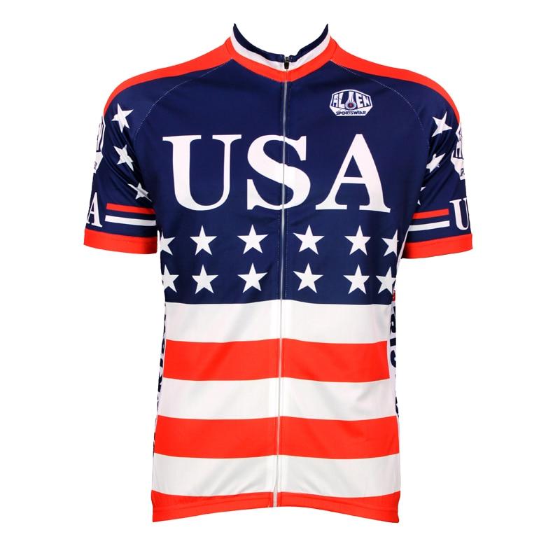 Alien SportsWear drapeau américain Mens Cycling Jersey vêtements de cyclisme Bike Shirt taille 2XS à 5XL