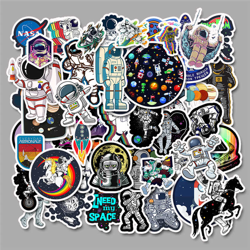 50Pcs Space Stickers Spaceship Alien Stickers for Skateboard Laptop Car Styling Luggage Vinyl Decal Waterproof Stickers