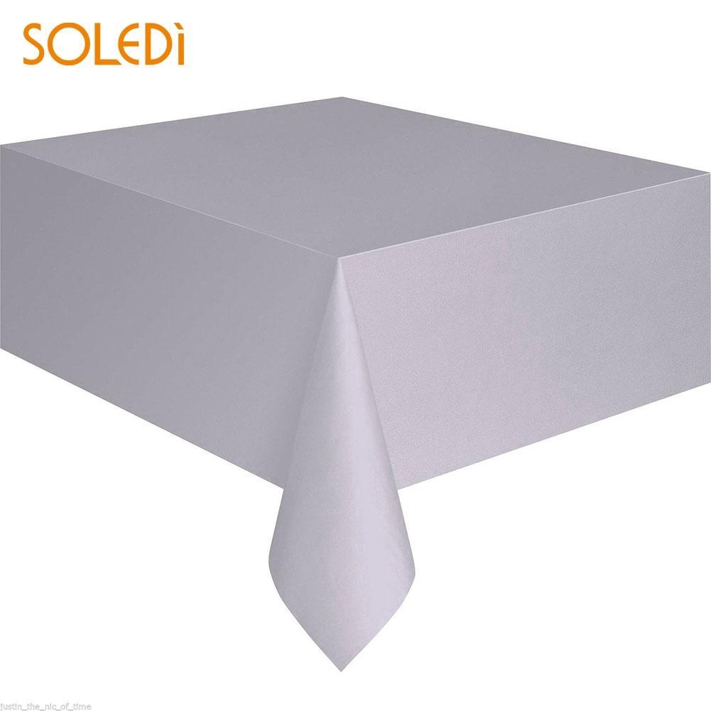 SOLEDI 20 цветов мягкий настольный бегун скатерть пластиковые товары для дома одноразовая скатерть для стола украшение стола - Цвет: silver gray