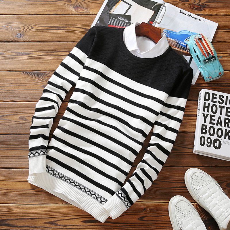 Striped Mens Sweater 2016 New Fashion Male Sweaters and Pullovers ...