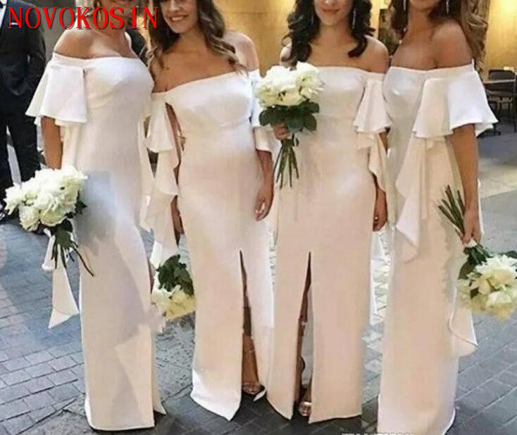 2019 Ivory   Bridesmaid     Dresses   Off Shoulder Simple Floor Length Wedding   Bridesmaids   Gown Maid of Honor   Dress   robes de demoiselle