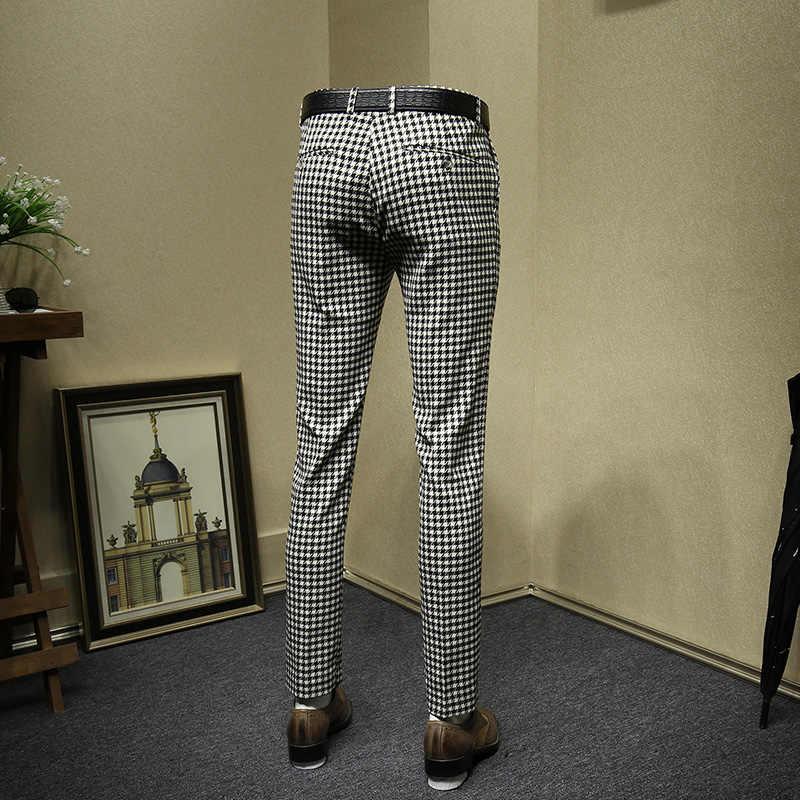 Pantalones de vestir para hombre formal negocios ajustado moda streetwear negro blanco plaid traje pantalón boda novio ropa padre día regalo 36