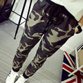 2017 Spring Cotton Blends Camouflage Slim All-Match Casual Trousers Harem Pants & capris For Women Elastic Waist Trousers
