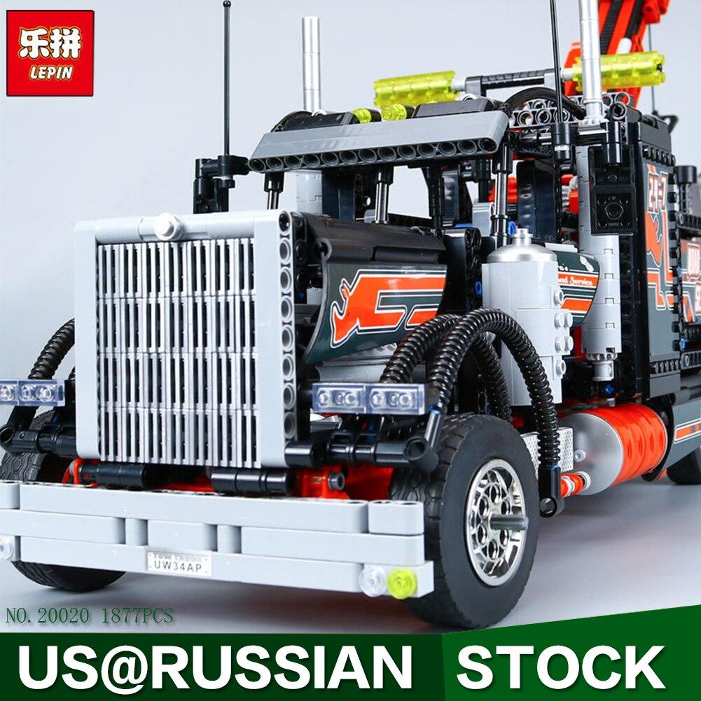LEPIN 20020 1877Pcs Technic Series Pneumatic Tow Truck Model Building Kits Blocks Bricks Toys Gift With 8285 1877pcs techinic 2in1 tow truck 20020