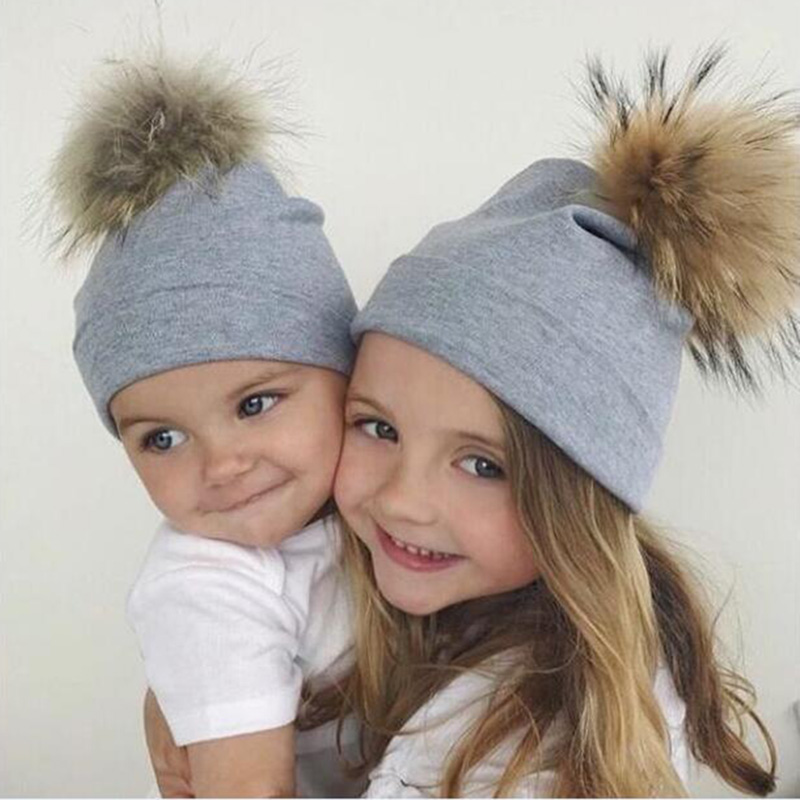 2018 New Mom and Baby Double Layer Cotton Hat Children Girl Boy Warm Winter Cute Solid Color Fur Bobble Ball Pompom   Beanies   Hats