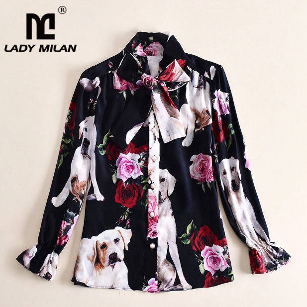 Lady Milan Womens 100% Silk O Neck Long Sleeves Floral Dogs Printed Bow Detailing Fashion Designer Shirts