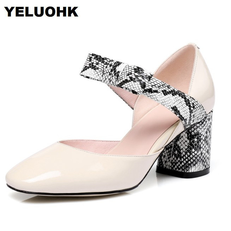 2018 New Patent Leather Shoes Women Mary Janes Snake Style Women Elegant Shoes Thick Heel Womens Black Pumps
