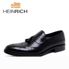 HEINRICH Luxury Brand Shoes 2018 Italian Style Pointed Toe Leather Footwear Mens Casual Lace Up Brogues Sapato Social