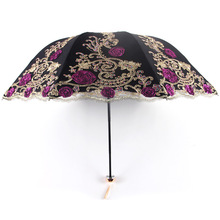 UV Three-folding Sunny Female Luxury Lace Double-layer Embroidery Umbrella Rain Woman New Black Rubber Anti-UV Umbrellas Z516