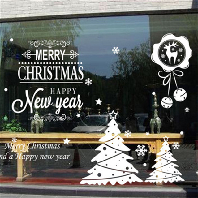 2016 amazing christmas window stickers 16 style diy xmas new year decoration wall decal hotel store home decor wall sticker in wall stickers from home