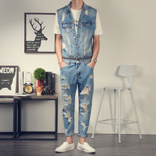 2017 New Men's denim overalls Men Casual 9 pants jeans Jumpsuits for Men with Holes MB16278 nine length pants