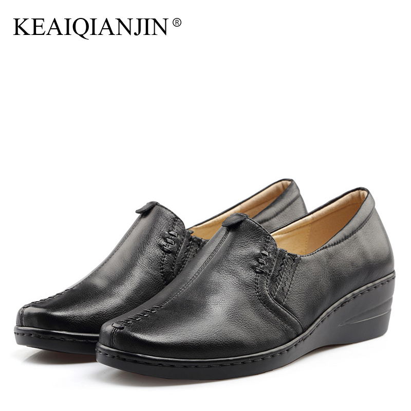 KEAIQIANJIN Woman Genuine Leather Shoes Spring Autumn Black Brown Loafers Shoes Lazy Plus Size Flats Genuine Leather Loafers keaiqianjin woman sheepskin flats black red silvery plus size 33 41 spring autumn derby shoes lace up genuine leather shoes