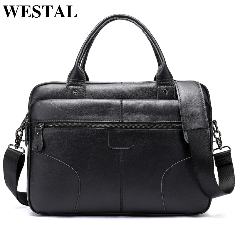 WESTAL Leather Laptop Briefcases Bags For Men Genuine Leather Briefcase Male Totes Business Document Bag Men Messenger Bags 8626