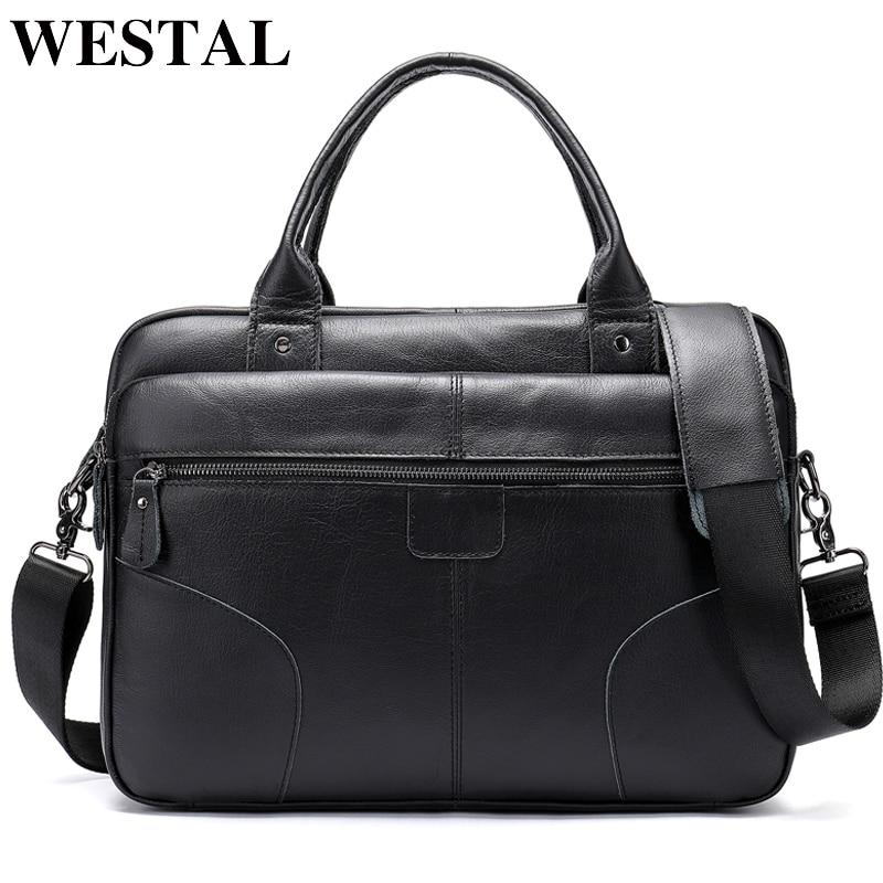 Westal 가죽 노트북 서류 가방 남자 정품 가죽 서류 가방 남성 totes 비즈니스 문서 가방 남자 메신저 가방 8626-에서서류 가방부터 수화물 & 가방 의  그룹 1