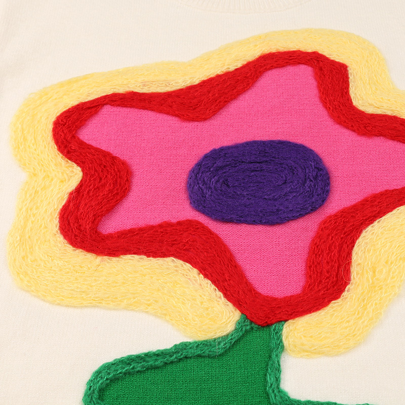 Makuluya À Chic Femmes Fleur Pull Tops Lâche Printemps Tricotés Main Appliques Manches Qw Offwhite Chandails Longues Automne Casual De Crochet WE2YbDH9eI