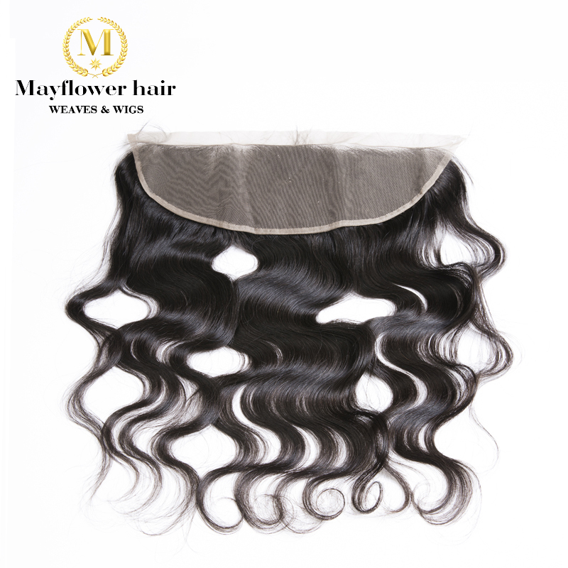 """Ear To Ear 13X4"""" Full Lace Frontal  Malaysian Virgin Hair Body Wave Hand Tied With Baby Hair Free Parting Natural Color"""