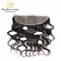 Ear to ear 13X4 Full lace frontal Malaysian virgin hair body wave hand tied with baby hair Free parting Natural color