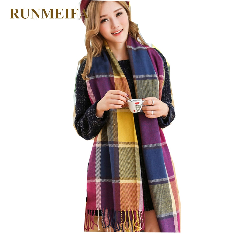 2019 Winter Plaid Scarf Women Fashion Echarpe Desigual Scrunchy Hijab Scarves Winter Shawl Wool Warm Cashmere Scarf For Women