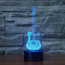 Loves guitar 7 Changing Colors 3d illusion night lamp