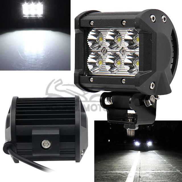 "1pcs 4"" 18W 1260 Lumen Motorcycle 6 LED Spot Beam Fog Light Bar Off-road Truck Car SUV Boat 4wd ATV Auxiliary Driving Lamp"