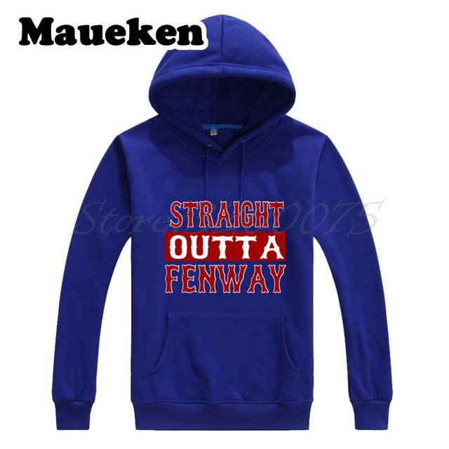 low priced e6b30 83ca3 US $29.88 |Men Hoodies Boston Straight Outta Fenway Sweatshirts Hooded  Thick Lace up for red sox fans gift Autumn Winter W17101203-in Hoodies & ...