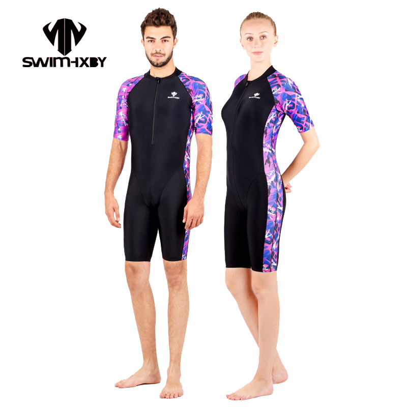 HXBY Short Sleeve Men Swimsuit One Piece Plus Size Competittion Racing Swimwear Women Swimming Suit For