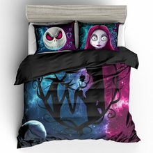 3D Nightmare Before Christmas Duvet Cover Sets,Jack and Sally Valentine's Day Rose Decor,100% Microfiber Galaxy Bedding Set 3pcs(China)