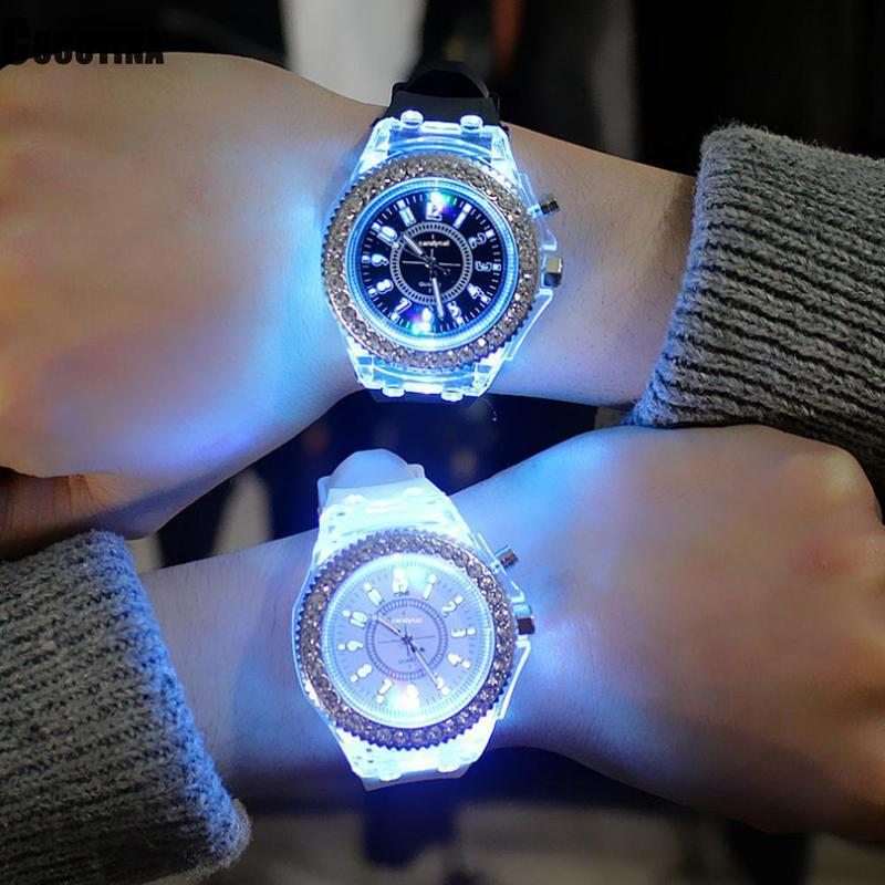 7 Colors Light Couple Wrist Watch LED Flash Luminous Watches Personality Trends Students Lovers Woman Men's Watches