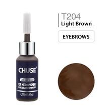 CHUSE Light สีน้ำตาล T204 แต่งหน้า Ink Eyeliner ชุดหมึก TATTOO Eyebrow Microblading Pigment Professional 12ML 0.4oz