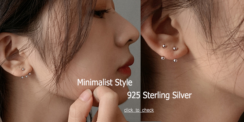 Minimalist 925 Sterling Silver Three Ball Stud Earrings