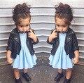 Roupas da moda meninas 2016 Outono/Primavera meninas casacos top quality crianças PU jaqueta de couro preta linda princesa casaco para crianças
