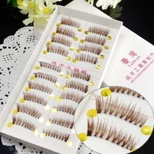 Free shipping hot sale 10Pairs Hand made full strip coffe False Eyelashes Natural Long ThickCotton Stem F06 Beauty Health Makeup