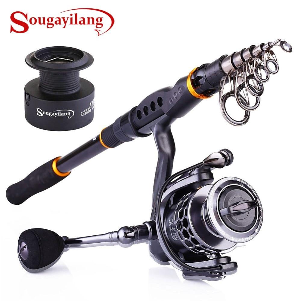 Sougayilang Fishing Rod Reel Combos 24 Ton Carbon Portable Telescopic Fishing Rod Pole with 13 1BB