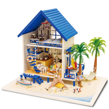 CUTE ROOM New Big Size Furniture DIY Doll House Wooden Miniatura Doll Houses Assemble Diy Toy For Children Gift Beach Type