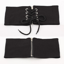 Women Fashion Black Polyester Elastic Wide Corset Belts For Zipper Eyelet Slimming Waistband Belt Cummerbunds