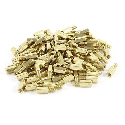 <font><b>M3</b></font> Male to Female Threaded 9mm+6mm PCB Spacer Stand-off <font><b>15mm</b></font> Gold Tone 100 Pcs image