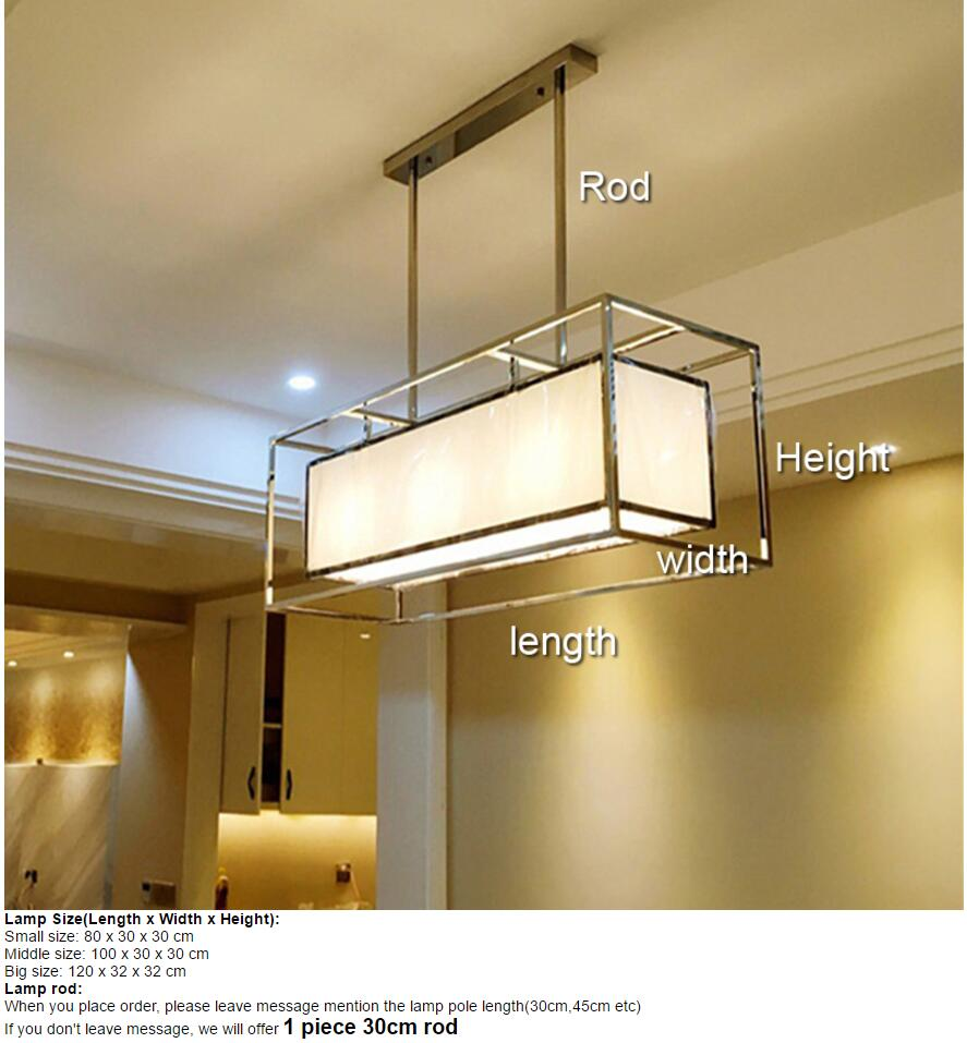 Oblong rectangle long Stainless steel chandelier light lamp fabric ...