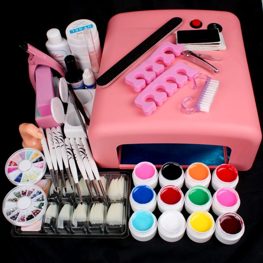 Pro 36W UV GEL Pink Lamp & 12 Colors UV Gel Nail Art Tools Sets Kits Nail Gel Nails & Tools Nail Polish Kit #N308 new pro 36w uv gel white and pink lamp & 12 color uv gel nail art tools sets kits u 6