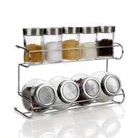 Glass spice bottle set seasoning box sauce pot piece set double layer shelf kitchen