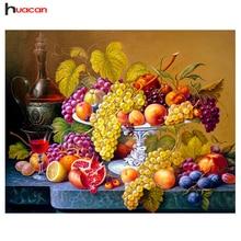 Huacan Fruit Diamond Embroidery Kitchen Wall Decor Rubik's Dice Sq. Diamond Portray Crystal Mosaic Image of Rhinestone