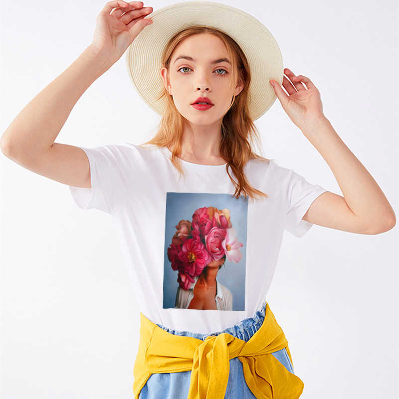 SKIPOEM 2019 Harajuku Aesthetics Flower Sexy Girl Cotton Female Tshirt Women Modis Plus Size T Shirt Print Short Sleeve Top Tees