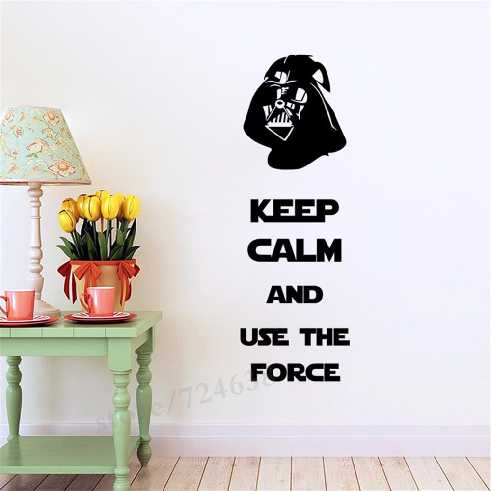 Keep calm and use the force star wars wall quote decal sticker keep calm and use the force star wars wall quote decal sticker darth vader wall art mural decor living room bedroom wall poster in wall stickers from home amipublicfo Gallery
