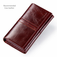 GZCZ Genuine Leather Women Wallet Female Vintage Style Ladies Walet Large Capacity Woman Vallet Portomonee Clutch Card Holder