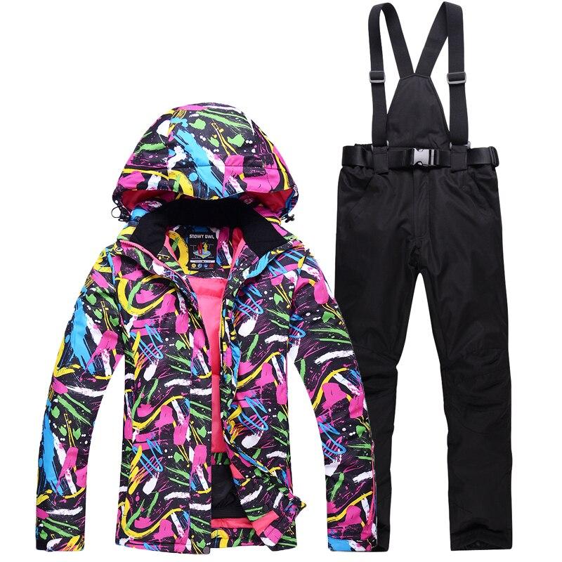 Новый лыжный костюм куртки брюки для девочек для женщин Сноубординг наборы ухода за кожей Женская зимняя спортивная снег Лыжная куртк