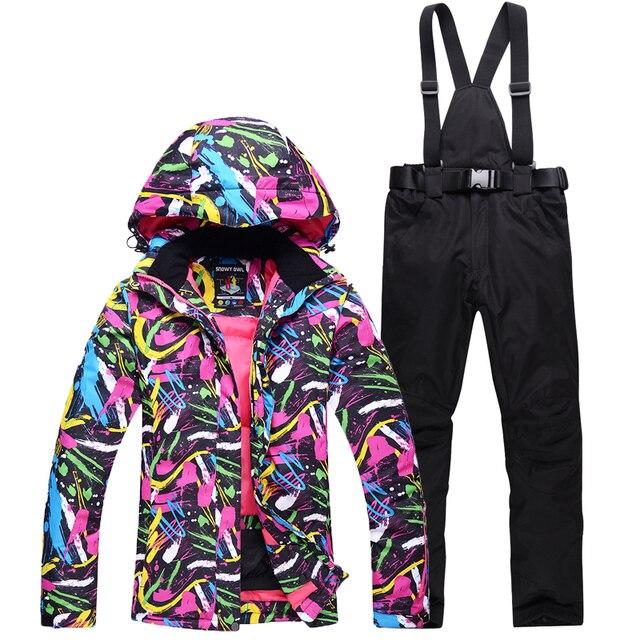 ef2d2cfd3d8a Nuevos trajes de esquí Chaquetas Pantalones mujer snowboard conjuntos ropa  deportiva femenina de invierno nieve esquí chaqueta transpirable ...
