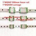Продвижение новый 9 мм линейная направляющая MGN9 L = 500 мм железнодорожных + MGN9H ЧПУ блок для 3d-принтер