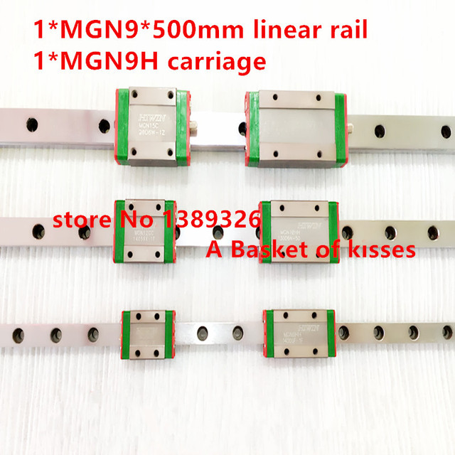 Promotion new 9mm linear guide MGN9 L= 500mm rail + MGN9H CNC block for 3D printer